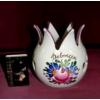 ÁTTÖRT, tulipán alakú kézi festésű kerámia mécsestartó