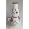 ÁTTÖRT, petróleumlámpa alakú, kézi festésű kerámia mécsestartó