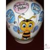 Méhecskés váza óvodai ballagásra, csoportnévsorral /8 név/ a lufikban /24 cm/
