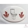 Helyiség jelölő tábla  /toilett, fürdő stb./ nagyobb ovális, két oldalán minimál díszítéssel