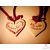 Felakasztható szívecske organza vagy szaténszalaggal