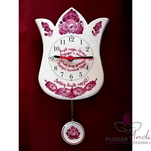 Tulipán alakú ingás óra, pár soros verssel