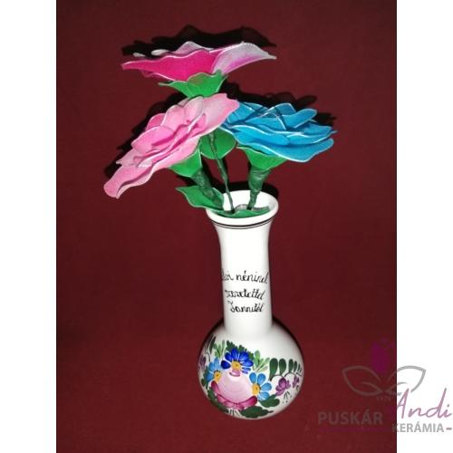 Hosszú nyakú váza /17 cm/, ballagási ajándék, 3 db harisnyavirággal