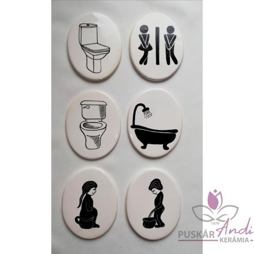 Helyiség jelölő tábla  /toilett, fürdő stb./ álló ovális, 85 mm magas