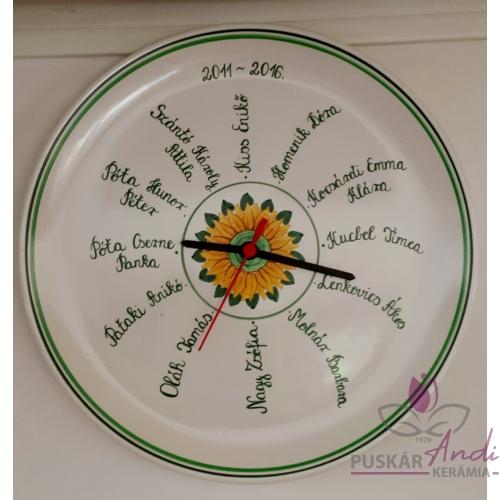 Pizzás tányér óra iskolai ballagásra, 12 óra=12 név    Ø32 cm