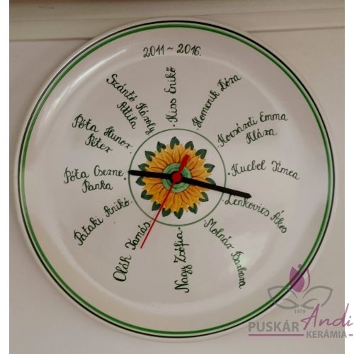 Fali tányér óra /Ø32 cm/  iskolai ballagásra, 12 névvel