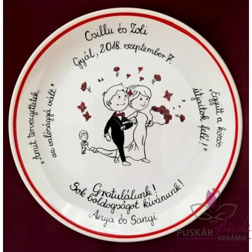 Egyedi festésű fali tányér, házasságkötés alkalmából