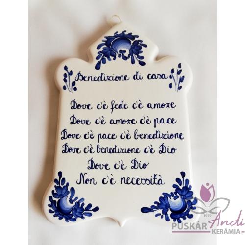 Csúcsos plakett  Olasz házi áldás