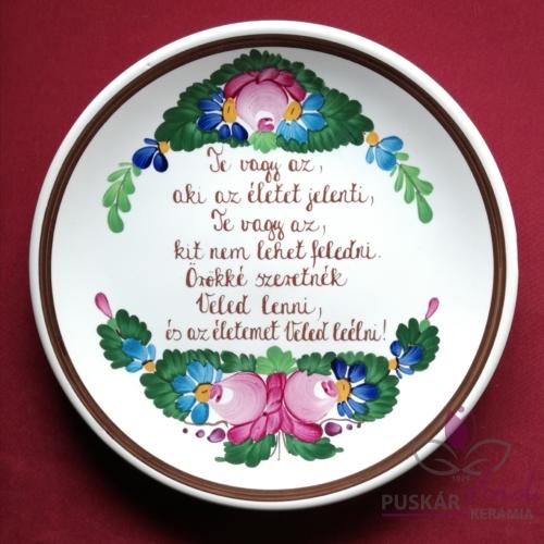 Tányér csemegés /Ø20 cm/   (Szerelmünknek, párunknak) Te vagy az, aki az életet jelenti...