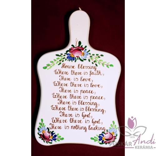 Vágódeszka alakú plakett  Angol házi áldás