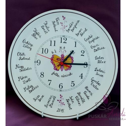 Tányér óra /Ø32 cm/ iskolai ballagóra osztálynévsorral /20 névvel/