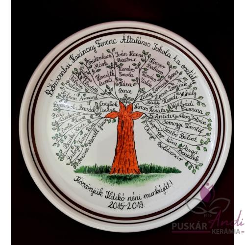 Életfás fali tányér  /Ø32 cm/ 4-es osztályfőnöknek, 28 névvel