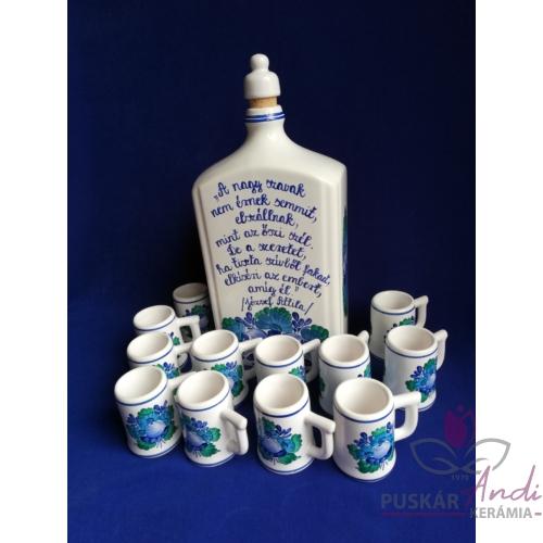 1 literes pálinkás butella szett 12 darab füles pohárral, József Attila idézettel