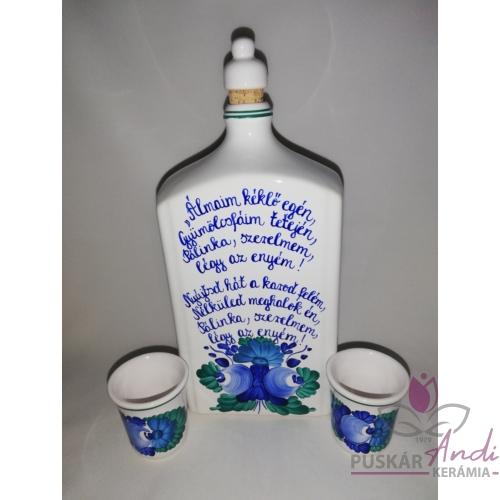 1 literes pálinkás butella szett különféle versekkel, 2 db pohárral