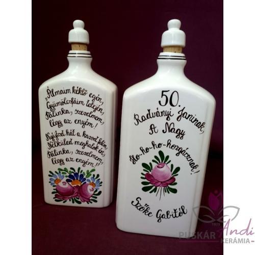 8 dl-es pálinkás butella 50. születésnapra