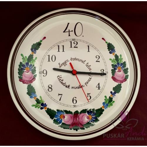 Fali pizzás tányér óra 40. születésnap alkalmából  /Ø32 cm/