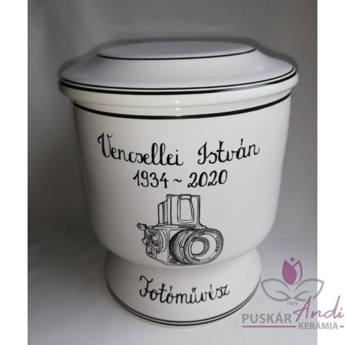 Kézi festésű kerámia urna, egyedi grafikával