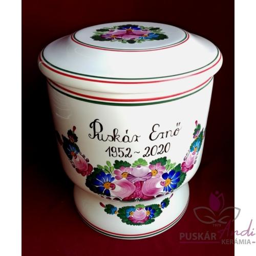 Kerámia urna, kézi festésű