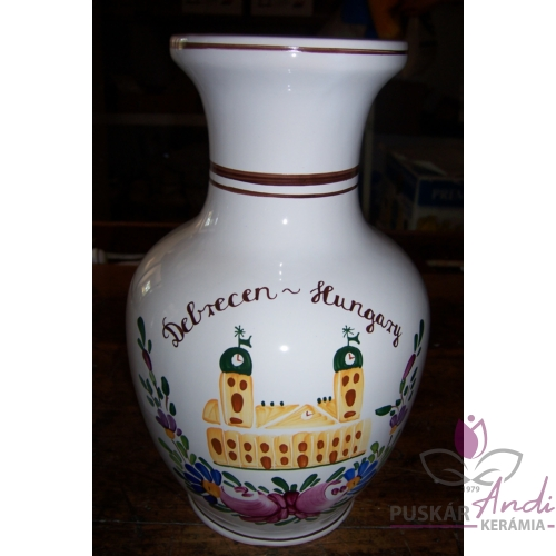 """Nagy csokros váza """"hasas"""", emblémával  /24 cm/"""