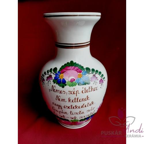"""Nagy csokros váza """"hasas"""", verssel  /24 cm/"""