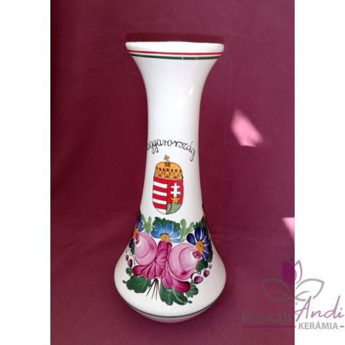 """Nagy váza """"hosszú nyakú"""", emblémával  /27 cm/"""